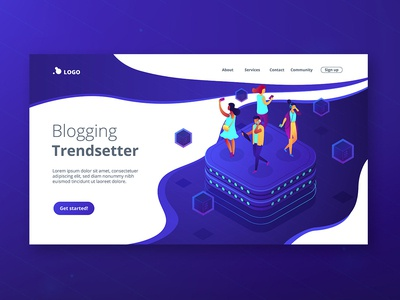 Isometric UV landing page. Social media concept illustration