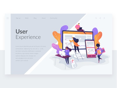 Wavy Landing Pages. User Experience concept