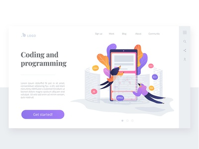 Wavy Landing pages. Coding And Programming concept