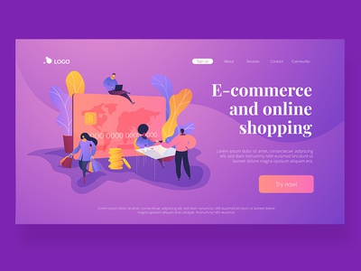 Wavy Landing Pages. E-commerce and online shopping concept