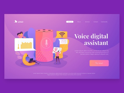 Wavy Landing pages. Voice Digital Assistant