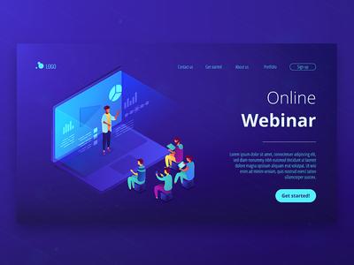 Online webinar Isometric UV Landing Page