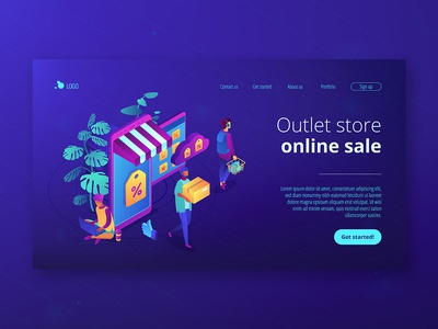 Isometric UV landing page. Outlet store