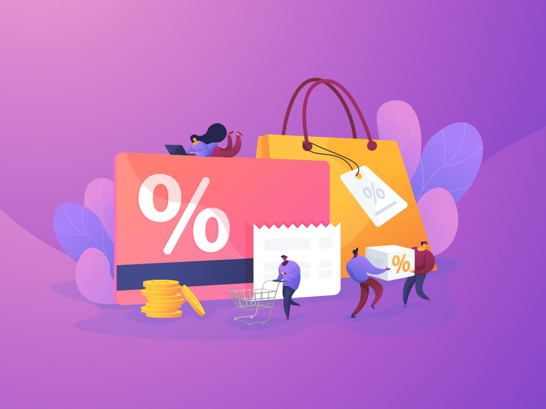 Discount and loyalty card concept illustration graphic design flat illustration violet ultraviolet uidesign uiux vector illustration isolated vector illustration webillustration website design conceptual illustration concept narrative illustration communication uikits ui elements