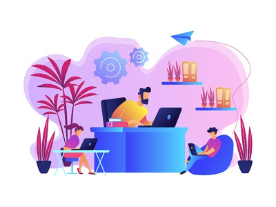 Office environment vector concept illustration web element ui element uidesign webdesign concept concept illustration violet flat uikits ui vector illustration graphic design office space