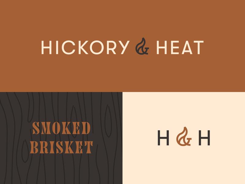 Hickory & Heat Concept 1.2 brisket heat hickory bbq typography icon word mark mark logo identity brand design graphic