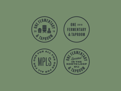 One Fermentary & Taproom 2 mpls bureau grot vintage one fermentary taproom beer typography typo lockups badge circles badges graphic design graphic