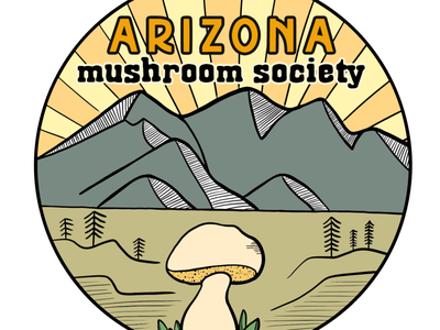 Arizona Mushroom Society Sticker Design arizona non-profit mushroom nature illustration visual design line art sticker design branding logo design logo graphic design