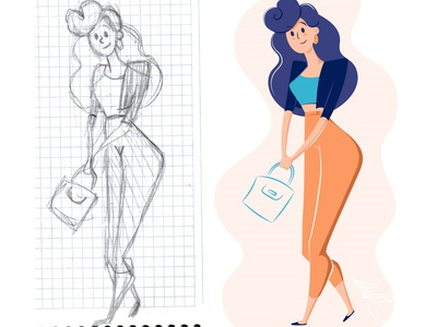 Sketch lady drawing character character design illustrator vector illustration