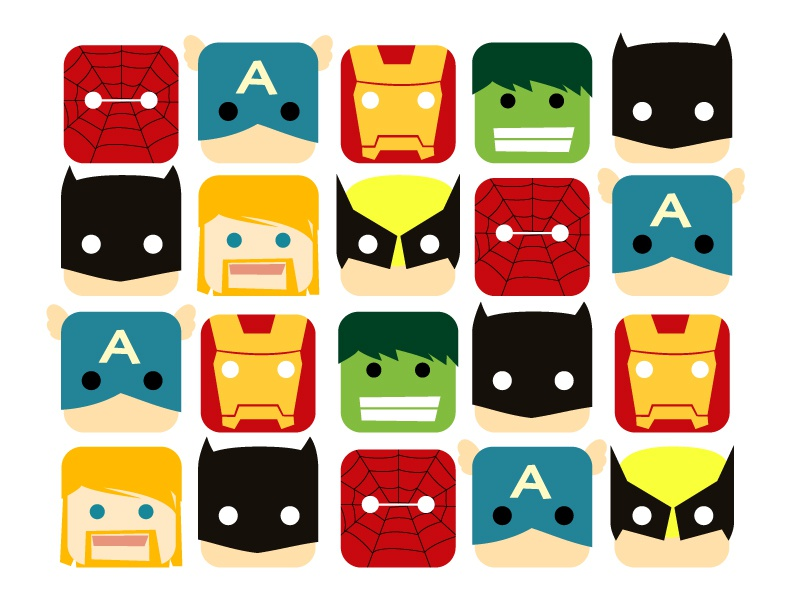 Superhero thor america captain hulk man iron batman spider-man ui icon superhero hero