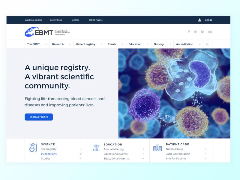 EBMT website hospital care patients events education nursing patient research ebmt ux ui website science