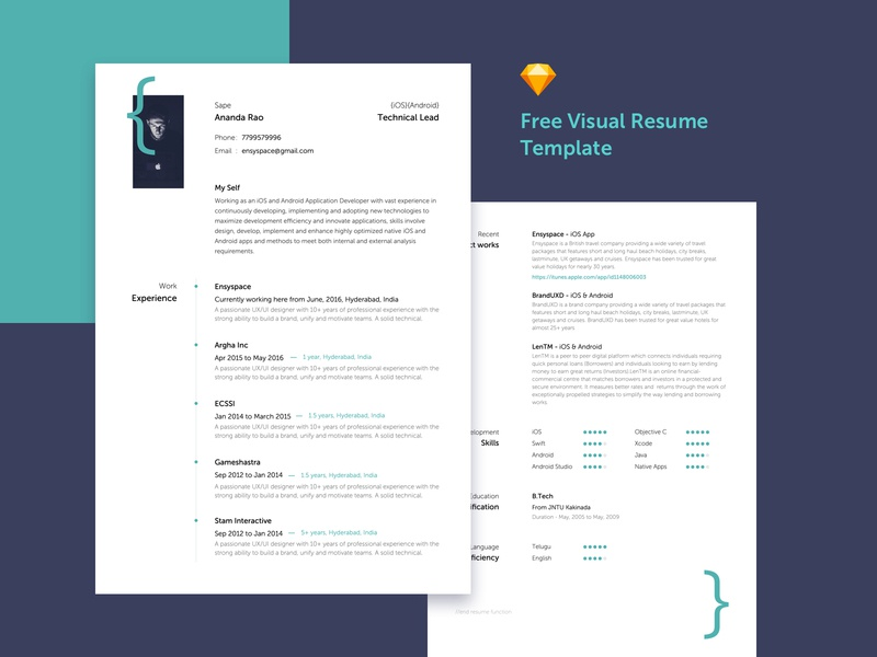 Free Visual Resume Template resume clean developer portfolio resume template resume resume cv