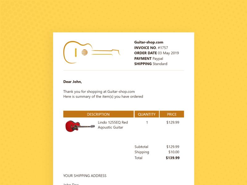 Daily UI #017 email receipt 017 daily ui dailyui