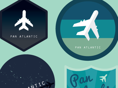 Pan Atlantic logo study plane retro badge vector gradient bright colorful airplane pacifico orator corporate