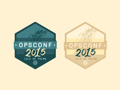 Badges / OpsConf blue grass beige haymaker orator gold beach hand yellow conf conference lettering
