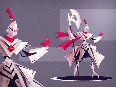 Fantasy Robot character concept art guardian guard ninja warrior fantasy character art bird dnd robot monster design vector illustration