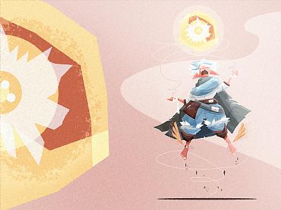 Fantasy art - Elf mage child revised spell warrior dnd fly wizard magic child mage elf icon monster vector design illustration