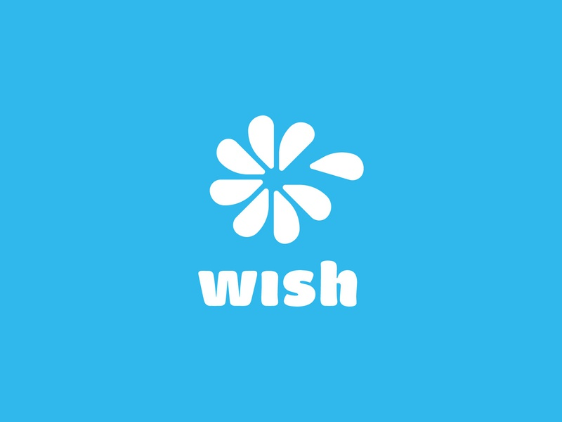 Wish.com rework shopping wish pedal flower branding vector design brand mark logo illustration