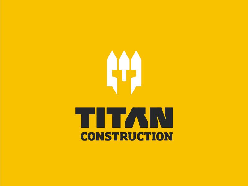 TITAN construction - White picket fence + Helmet construction titan yellow fence helmet branding vector design brand mark logo illustration