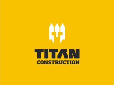 TITAN construction - White picket fence + Helmet construction titan yellow fence helmet branding vector design brand mark logo illustration