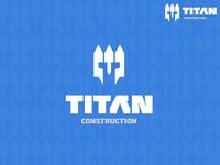 TITAN CONSTRUCTION ( White picket fence + Helm ) construction titan helmet fence black typography monster branding vector design brand mark logo illustration