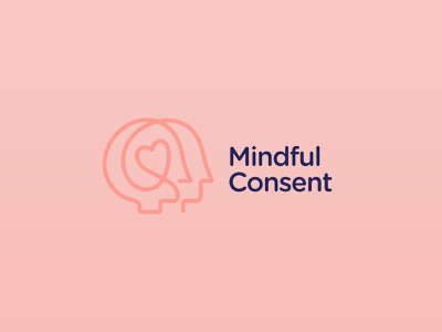 Mindful Consent - Consent training united heart face mind continuous line blue red branding vector design brand mark logo illustration