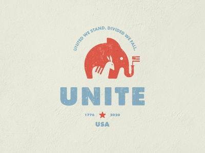 Unite 2020 vintage unite usa flag donkey elephant political branding vector design brand mark logo illustration