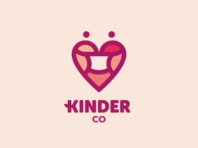 Kinder Co - Masks and accessories ( Heart + Mask + People ) love person heart mask branding vector design brand mark logo illustration