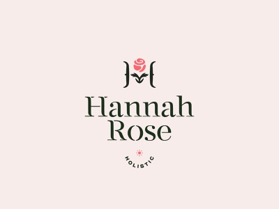 Hannah Rose Holistic ( H + Rose + Hands ) medicine hands rose red black typography branding vector design brand mark logo illustration