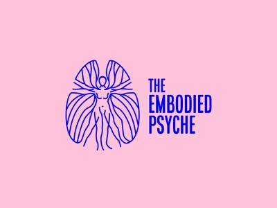 The Embodied Psyche - alternate option nude woman vitruvian brain icon branding vector design brand mark logo illustration