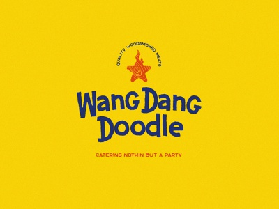 WangDangDoodle Catering fire wood star yellow typography branding vector design brand mark logo illustration