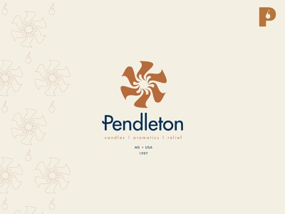 Pendleton Candles & Aromatics p comfort warmth sun fire candle blue typography branding vector design brand mark logo illustration