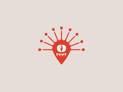 DND Finder mark fantasy dnd beholder red monster branding vector design brand mark logo illustration