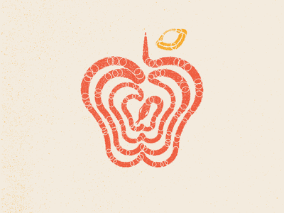 Eden ( Serpent + Apple ) abstraction logo yellow red apple snake eden
