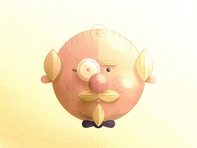 Mr. Dudely yellow old bald tie bow man dude rich color illustration