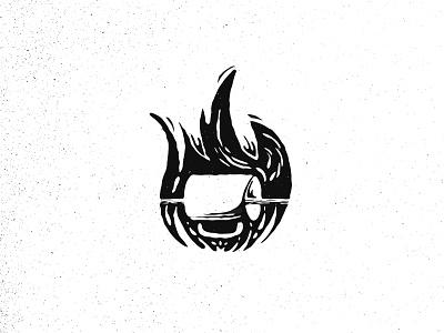 Inktober day 3 - Roasted roasted roast flame fire coffee black design brand mark illustration logo