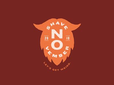 No Shave November 2 - Crest Lockup orange type mustache beard typography brand mark logo illustration