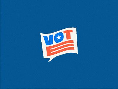 Vote Reminder political voter word bubble voice flag blue red design brand mark logo illustration vote