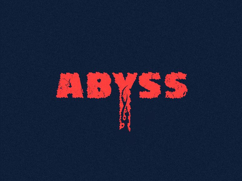 Abyss - Tentacles/depth/horror horror ocean abyss octopus tentacle retro vintage type branding typography vector blue black red monster design brand mark logo illustration