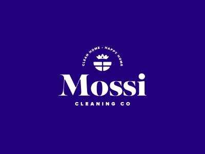 Mossi Cleaning Co clean window house maid crown branding typography vector blue design brand mark logo illustration