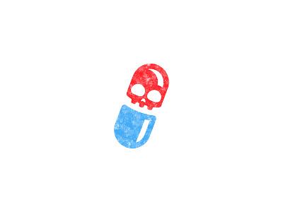 Placebo = Skull + Pill drugs drug placebo skull pill blue red design brand mark logo illustration