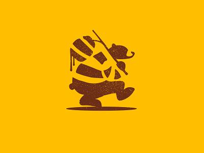 Honey+bear+Thief part 3 retro bee hive bee thief bear honey design brand mark logo illustration