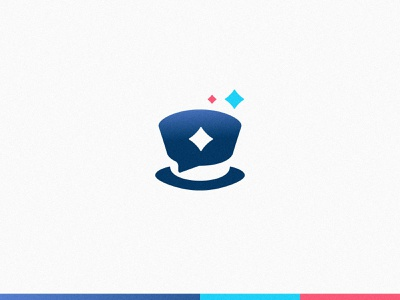 Magic Chat App Logo icon evolution chat magic hat top hat design branding vector brand mark logo illustration