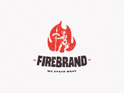 Firebrand Deli Delivery spear sausage fire meat caveman branding red type typography vector design brand mark logo illustration