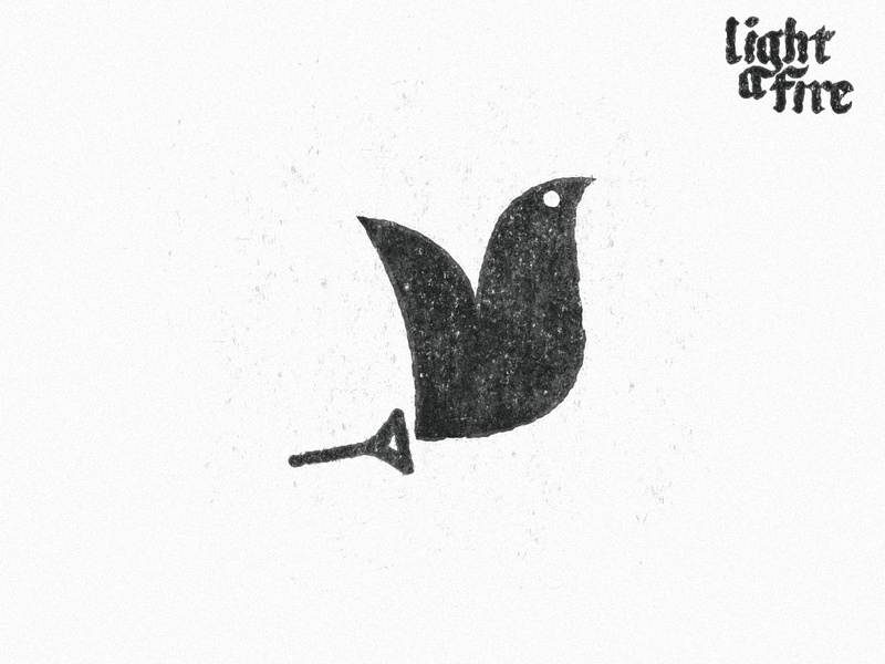 Light A Fire Mark idea holy spirit god trumpet horn fire dove type branding typography vector design brand mark logo illustration