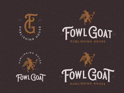 Fowl Goat - Publishing House - logo WIP ink book publisher pen animal bird fowl goat icon typography monster branding vector design brand mark logo illustration