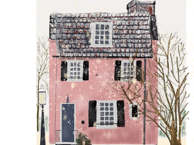 Pink house and snow procreate