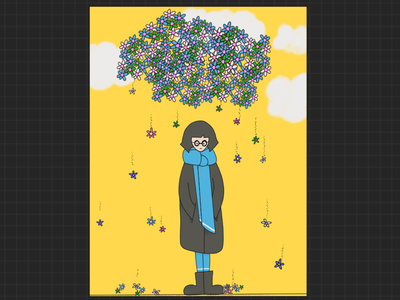 Flower Rain yellow illustration flowers spring procreate