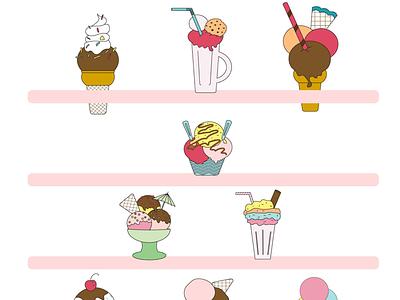Ice Cream stand pastel illustration illustrator ice cream