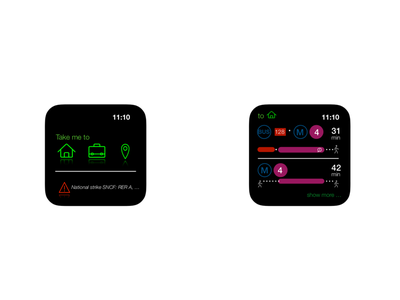 UI design for a(n imaginary) transport app wearable watch ui transport apple watch app